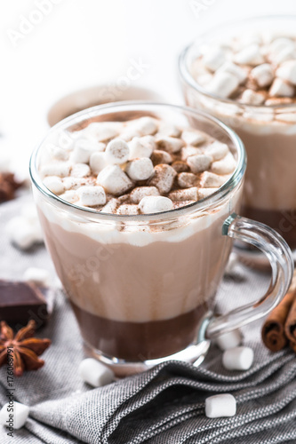 Printed kitchen splashbacks Chocolate Hot chocolate or cocoa with marshmallow. Traditional winter drink.