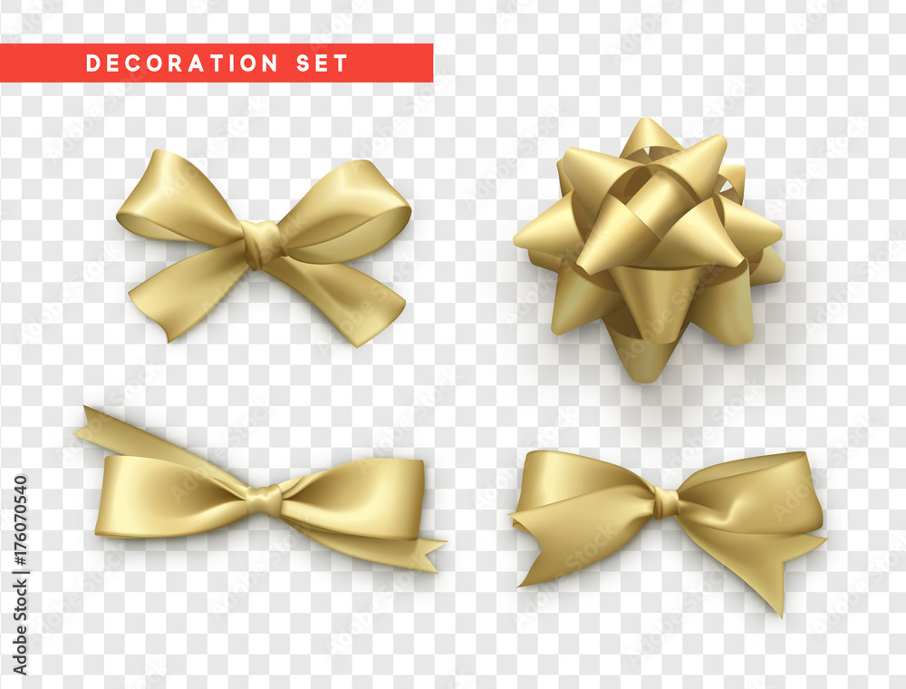 Fototapeta Bows gold realistic design. Isolated gift bows with ribbons.