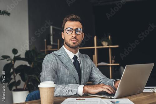 Garden Poster businessman working with laptop