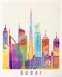 Dubai landmarks watercolor poster
