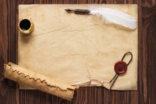 Closeup Of Scroll And Quill Ne...