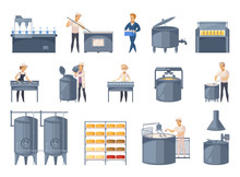 Dairy Production Cartoon Icons...