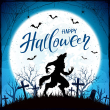 Happy Halloween With Werewolf And Bats On Blue Moon Background