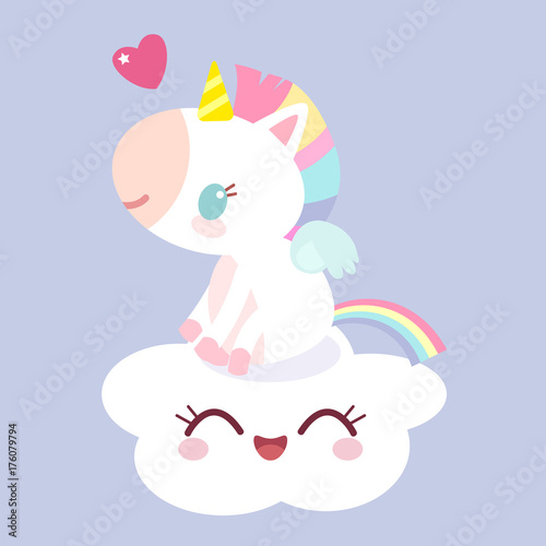 A magical unicorn on the cloud Canvas Print