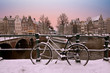 Sunset in snowy Amsterdam in the Netherlands in winter