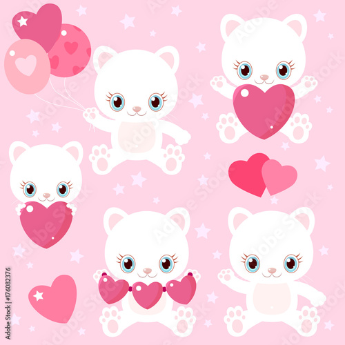 Set Of Cute Cats For Valentine S Day Kittens With Hearts And