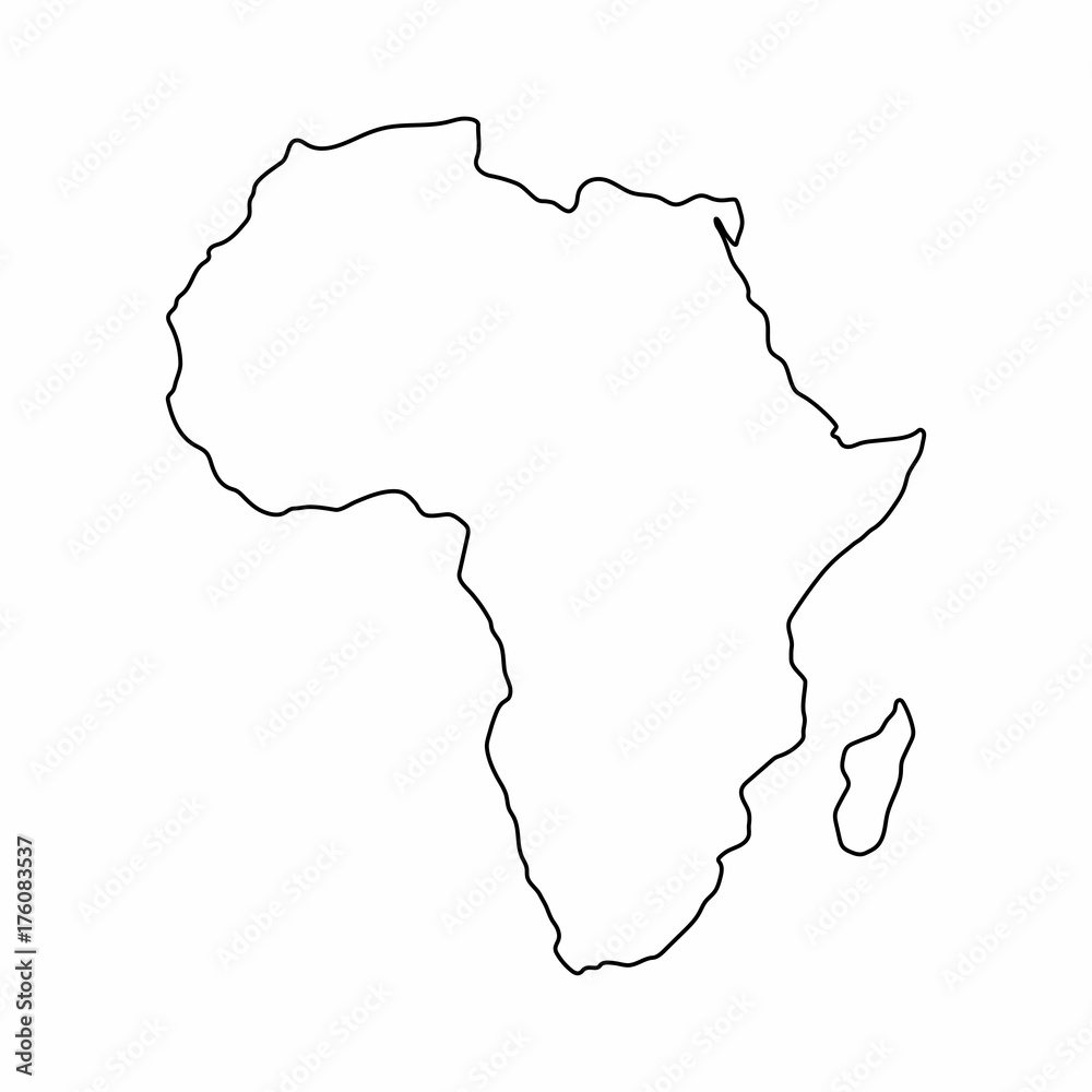 Fototapeta Africa map outline graphic freehand drawing on white background. Vector illustration.