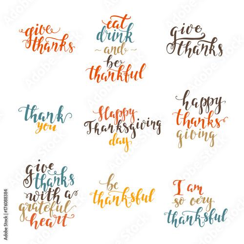 Fotografie, Obraz  Thanksgiving day lettering