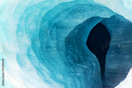 Printed kitchen splashbacks Glaciers Abstract view of the entrance of an ice cave in the glacier Mer de Glace, in Chamonix Mont Blanc Massif, The Alps, France
