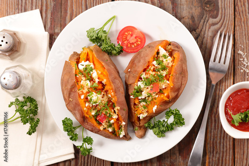 Photo  baked sweet potato