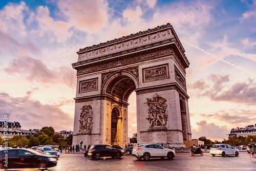 Valokuva  sunset triumphal arch of Paris