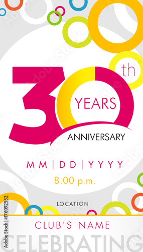 30 Years Anniversary Invitation Card Celebration Template Concept