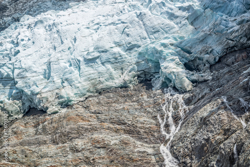 Close up on the lower end of The Bossons glacier, in Chamonix Mont Blanc Massif, Wallpaper Mural