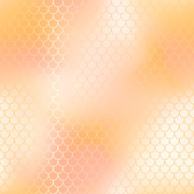 Mermaid Fishscale Pattern Background. Gradient Mesh Vector Texture. Blush Pink And Yellow Fish Skin Background.