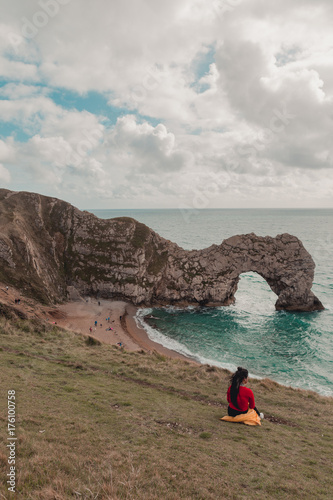 Picnic opposite Durdle Door Poster