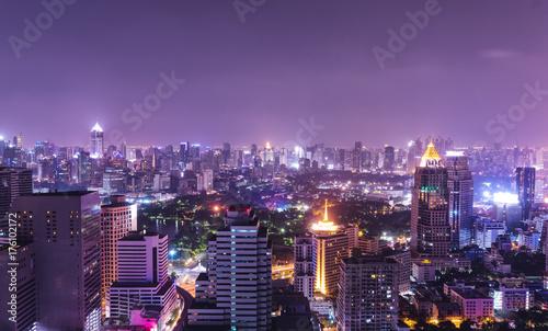 Fototapeta miejski pejzaż widok zmierzchu i nocy
