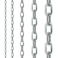 Silver Chain. Set Of Seamless Vector Design Elements