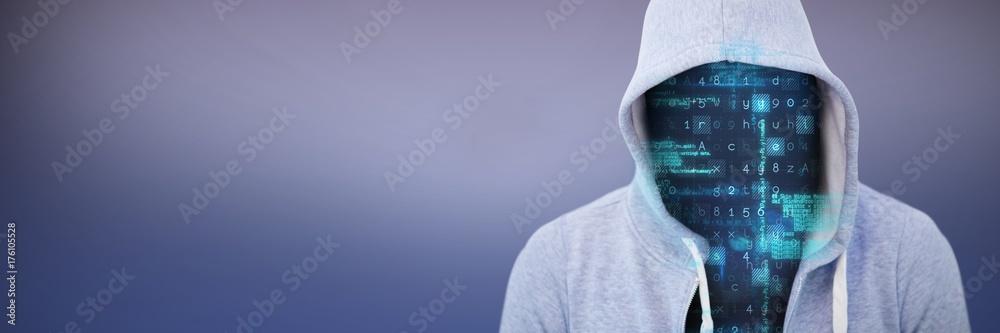 Fototapeta Composite image of robber wearing gray hoodie