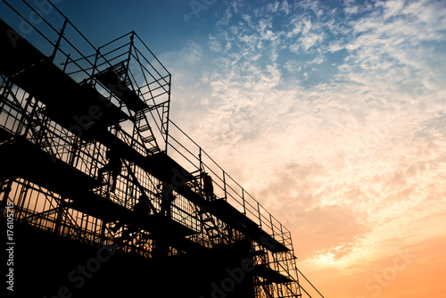 Stampa su Tela Civil engineer and safety officer in spec steel truss structure scaffolding risk
