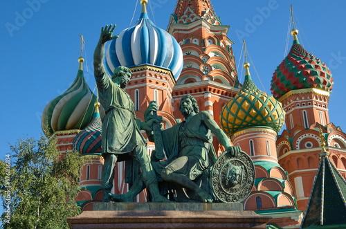 Obraz na dibondzie (fotoboard) Zabytek Minin i Pozharsky na placu czerwonym blisko St basilu katedry, Moskwa, Rosja