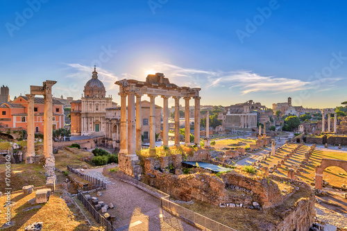 Photo Stands Rome Rome sunrise city skyline at Rome Forum (Roman Forum), Rome, Italy