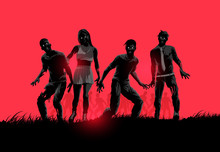 A Group Of Decaying Flesh Eating Zombies. Vector Illustration.