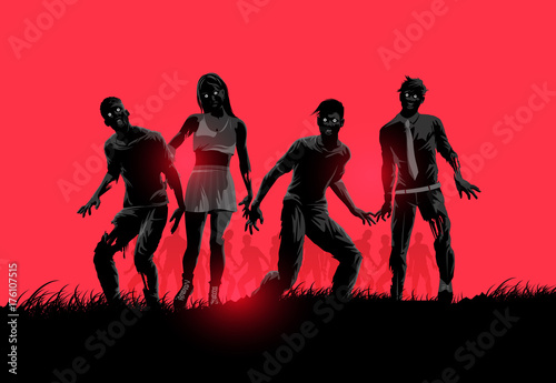 Fotografia A group of decaying flesh eating zombies. Vector illustration.