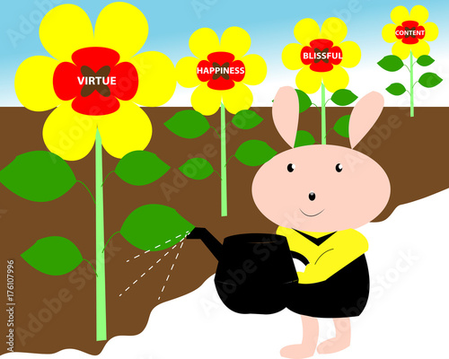 Watering human life flower plant of positive personality