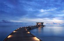 The Twilight Pier In Maldives