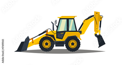 Photo Yellow backhoe loader on a white background