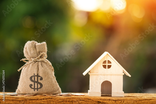 Fototapeta Money bag and home put on the wood in the public park, Loans for real estate or save money for buy a new house to family concept. obraz