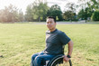Portrait of a smiling man in wheelchair