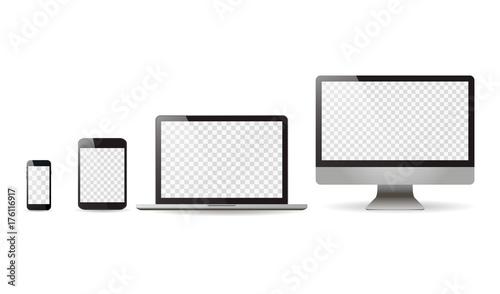 Fotografía  Mockup set realistic Monitors laptop tablet and phone vector illustration