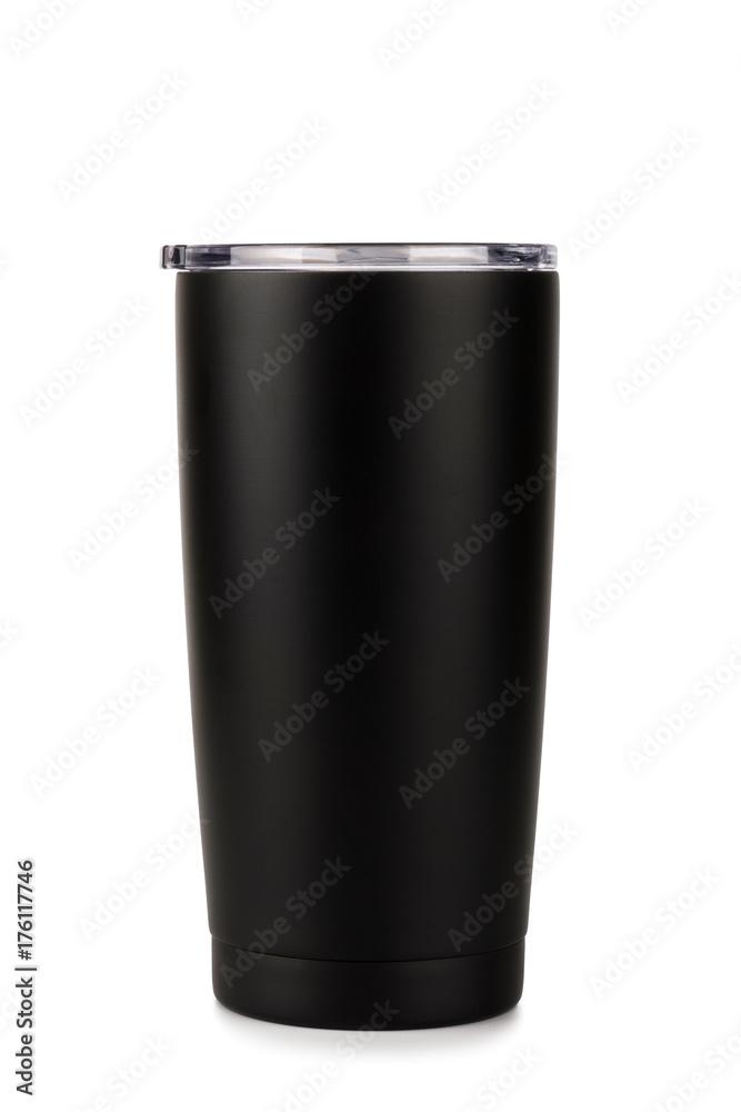 Fototapeta Black thermos bottle, Tumbler glass on white background