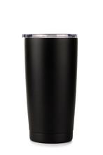 Black Thermos Bottle, Tumbler Glass On White Background
