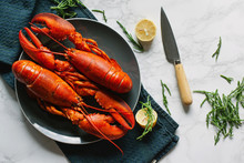 Two Cooked Lobsters