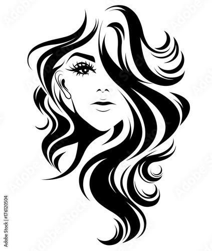 Obraz women long hair style icon, logo women on white background - fototapety do salonu