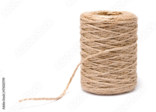 Coil of rope flaxen threads isolated on white background Canvas Print