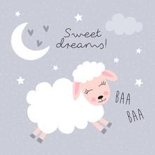 Sweet Dreams Sheep Vector Illu...