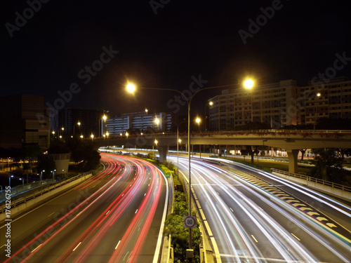 Foto op Aluminium Nacht snelweg Light Trails on a Highway (Expressway)