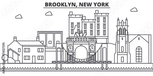 Keuken foto achterwand Art Studio Brooklyn, New York architecture line skyline illustration. Linear vector cityscape with famous landmarks, city sights, design icons. Editable strokes