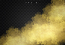 Golden Fog Or Smoke With Glows, Light And Bokeh, Golden Sparks Isolated On A Transparent Background Special Effect. Golden Vector Cloudiness, Mist Or Smog Background. Vector Illustration