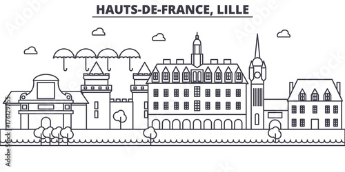 Slika na platnu France, Lille architecture line skyline illustration