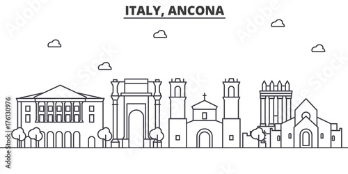 Italy, Ancona architecture line skyline illustration Canvas Print
