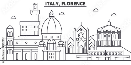 Italy, Florence architecture line skyline illustration. Linear vector cityscape with famous landmarks, city sights, design icons. Editable strokes
