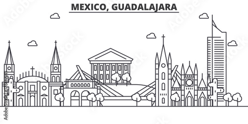 Mexico, Guadalajara architecture line skyline illustration. Linear vector cityscape with famous landmarks, city sights, design icons. Editable strokes