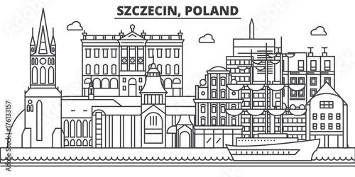 Fototapety Polska poland-szczecin-architecture-line-skyline-illustration-linear-vector-cityscape-with-famous-landmarks-city-sights-design-icons-editable-strokes