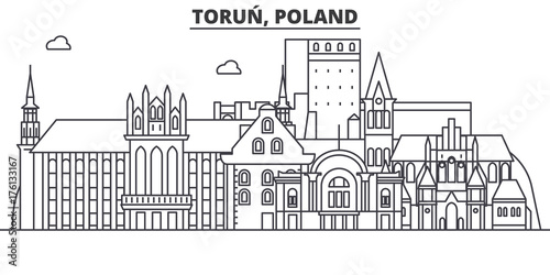 Fotografia Poland, Torun architecture line skyline illustration
