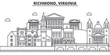 Richmond, Virginia Architecture Line Skyline Illustration. Linear Vector Cityscape With Famous Landmarks, City Sights, Design Icons. Editable Strokes