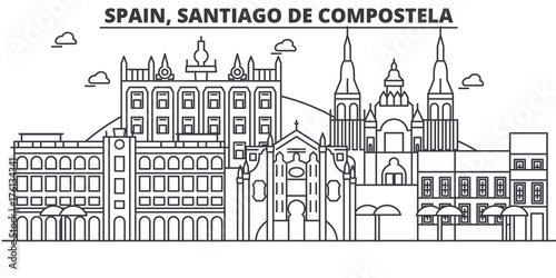 Foto Spain, Santiago De Compostela architecture line skyline illustration